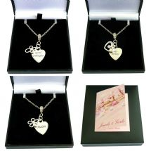 Engraved Memorial Necklace with Cross, Heart or Flower Pendant